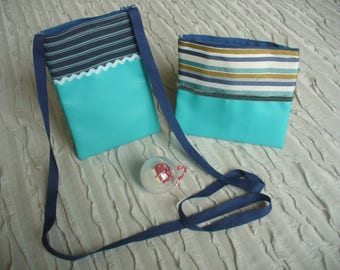 Whole kit and clutch men faux leather fabric and blue striped