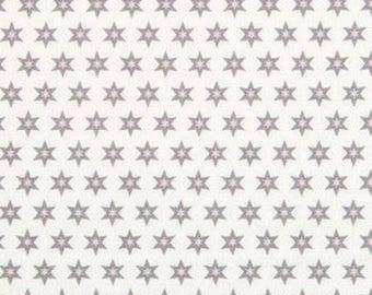 Tissu Gutermann Etoiles grises et roses sur fond blanc- Collection Long Island