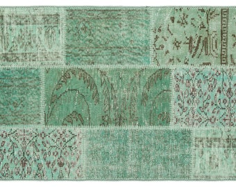 Unique Handmade Turkish Patchwork Rug Handknotted Antique Area Rug for Home and Office  - Color/Size Green 2'7'' X 4'11''