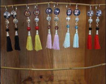 Earrings cabochon tassel inspired Hmong 10 cm