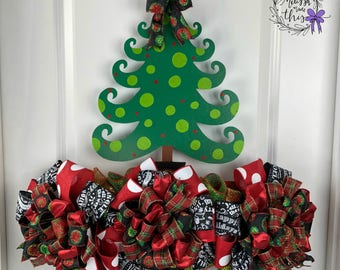 Christmas Tree Painted Wooden Door Hanger with deco mesh and bows, Christmas Tree Door Decor, Holiday Door Decor, Handpainted tree decor