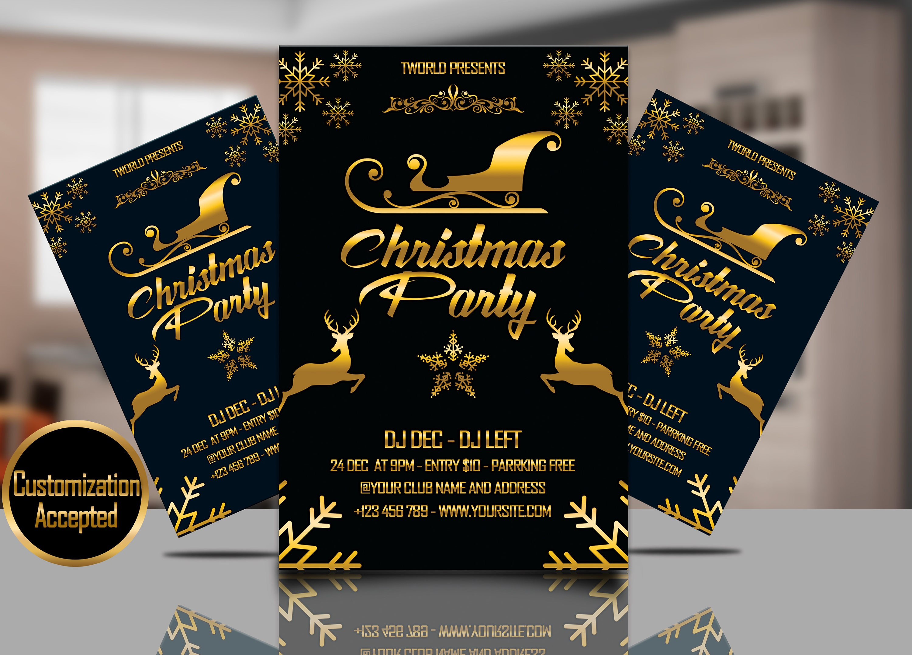 Christmas Party Invitation Flyer Template | Christmas party | PSD ...