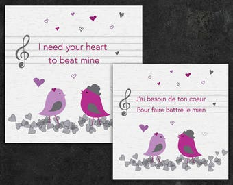 Printable or virtual card, e e-card Valentine's day jpg png both English french instant download download