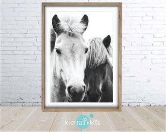 Horses Print, Animal Wall Art, Digital Download, Modern, Home Decor, Trending, Living Room, Bedroom, Black and White, Photography, Poster