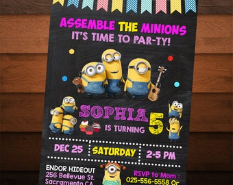 Minion Birthday Invitation for Girls, Minion Party, Printable Invitation, Girl Birthday Invite, Chalkboard Invitation, Custom, Personalized