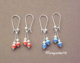 Earrings with finesse with their striped beads