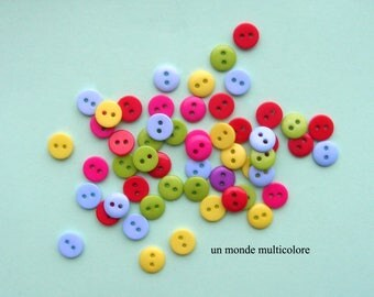 30 buttons round acrylic 9 mm 2 holes, sewing, scrapbooking colors mixed 9 mm