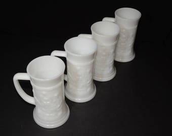 Federal, Milk Glass, Mug,Stein, Set of 4, Vintage, Tall Mugs, Pub Scene, Tankards, 1960s, white mug, mint