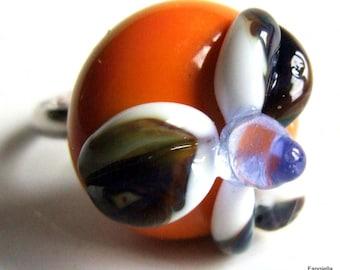 Flower ring orange Lampwork Glass