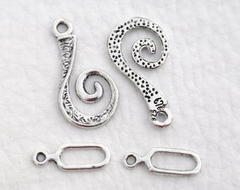 Toggle clasp silver spiral Tibetan