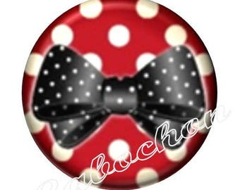 1 illustrated cabochon 30mm glass cabochon image bow and polka dots