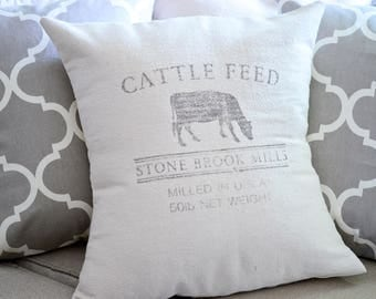 NEUTRAL | GRAIN SACK | Canvas Pillow Cover.Decorator Pillow Cover.Home Decor.Farm House.Cattle Feed.Cushions.Cushion.Pillow.