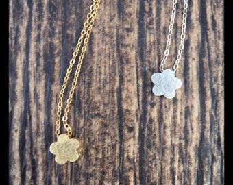 Flower Heart Sun Dainty Necklaces|Handcrafted Hammered Charm Necklace| 22K Gold|Sterling Silver Daisy Necklace|