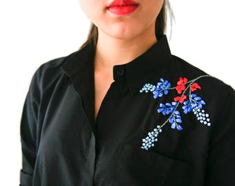 Shirt with embroidered floral ribbons