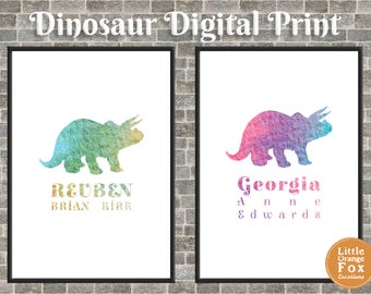 Dinosaur Personalised Print Picture | Children's Room Decoration | Printable Art | Dinosaur for Girls | Dinosaur for Boys (Digital)