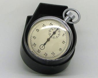 Vintage Soviet Mechanical 1 Button Stop Watch 'AGAT' Made in USSR 1980s with Original Box | Stopwatch - Chronometer | Best Gift