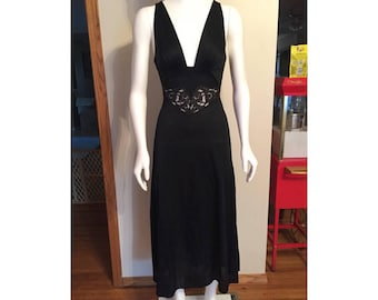 Vintage Blanche Black Full Length Night Gown