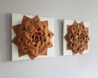 Brown and cream Home Decor Canvas Wall Hanging Set Unique Home Decor 3D Felt Flower