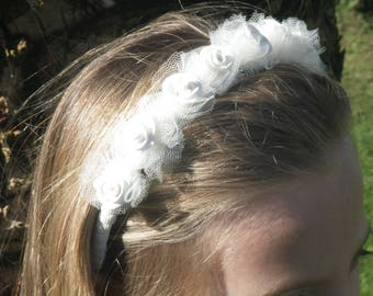 Headband with roses in fimo and tulle coccardine
