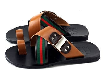 MAN Sandals LEATHER made in Italy-U75 Brown