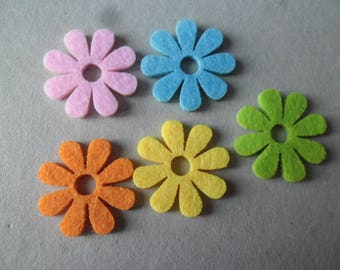 x 5 embellishments in the shape of flower felt multicolor 30 mm