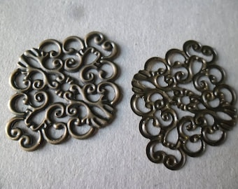 x 5 connectors patterned filigree bronze 37 x 30 mm