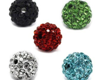 x 5 mixed rhinestone pave ball 8 mm beads