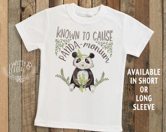 Known To Cause Panda-Monium Boho Kids Shirt, Panda Bear Tee, Funny Kids Shirt, Zoo Animal Tee, Cute Kids Tee, Boho Kids Shirt - T293K