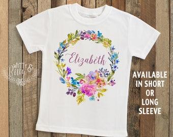 Bright Floral Wreath Personalized Kids Name Shirt, Customized Kids Shirt, Woodland Style Kids Shirt, Boho Kids Tee, Girl Name Shirt - T389E