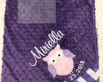 Amethyst and Jewel snow  Personalized Minky Blanket, Custom Minky Blanket, Personalized Baby Blanket, Baby girl Minky Blanket, Baby Gift,