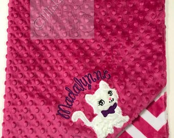 Fushia and Fushia Chevron  Personalized Minky Blanket, Custom Minky Blanket, Personalized Baby Blanket, Baby girl Minky Blanket, Baby Gift,