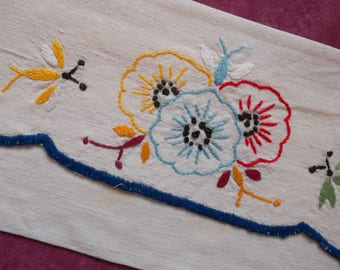 Delicate flowers and butterflies hand embroidered pouch
