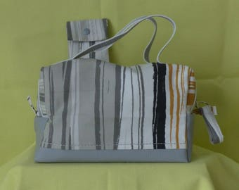 Gray faux toilet bag, lunch bag or makeup, multicolored striped fabric, vanity with matching case