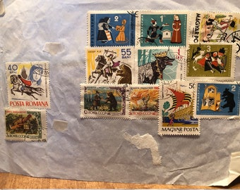 12 world postage stamps