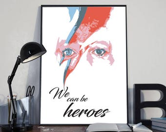 David Bowie poster, illustration, stilyzed, music