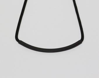 Black Bar Necklace, Simple Minimalist Jewelry, Contemporary Jewelry, Modern Jewelry, Matte Black Necklace, Gift