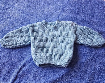 Hand knitted blue baby sweater, 0-3 months (16 inch chest)