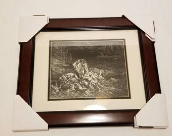 "Gustav Dore 1849 Etching ""Praud"" from Paris with COA. Signed in Image"