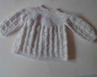Destockage brassière bébé en laine taille 3 mois blanc moucheté