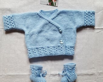 Entire jacket and booties in size newborn in sky blue
