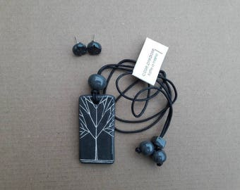 Necklace with ceramic pendant tree of Life