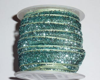 Light blue sparkly Ribbon 3 m long and 10 mm wide