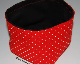 Fabric basket pattern red and black dots for general storage