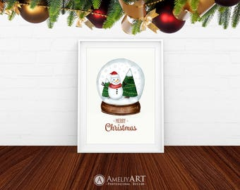 Christmas Printable Wall Art Snow Globe Print Merry Christmas Sign Snowman Christmas Tree Kids Poster Winter Wall Art Decor Digital Download