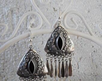Vintage silver inclusion black resin earrings