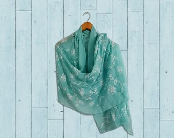 Turquoise summer shawls, chic boho wrap scarf, floral print shawls, lightweight scarves, soft shawls, large shawls, fashion wrap scarves