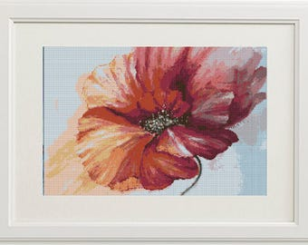"""Digital cross stitch pattern """"Red poppy""""   Printable download Embroidery pattern"""