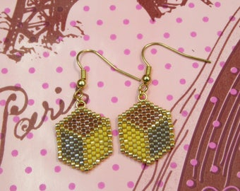 Length 38mm cube shaped Miyuki beads earrings