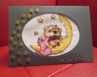 embroidered for girl or boy birth announcement