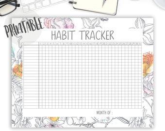 Habit Tracker Printable PDF, Goal Tracker, Self Care, Goal Planner, Daily Habit Tracker, Desk Planner, Bullet Journal Printable, Floral